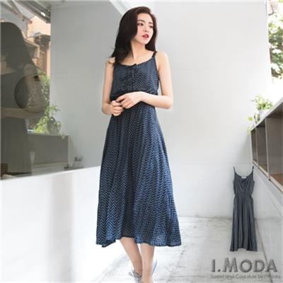 0326新品 異國風情~綁帶圖騰風情細肩帶長洋裝.2色