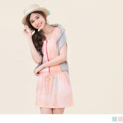 0616新品 親子裝系列~渲染印花縮腰連身短裙‧2色