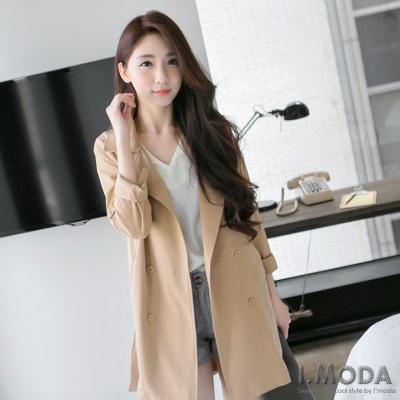 高挑風範~開襟翻領反折袖長版西裝外套.3色