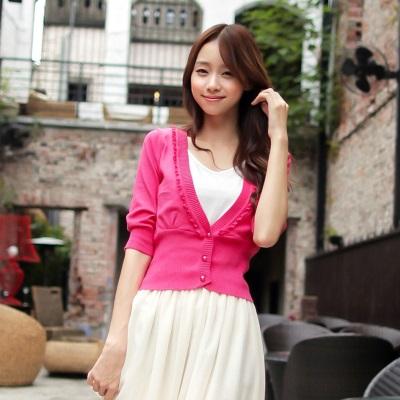 奢華小女人~大V領蕾絲開襟短版嚴選針織小外套‧10色