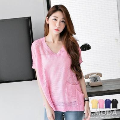 【春粉色系♥任選75折】慵懶姿態~鏤空感V領雙口袋造型飛鼠袖針織上衣.4色