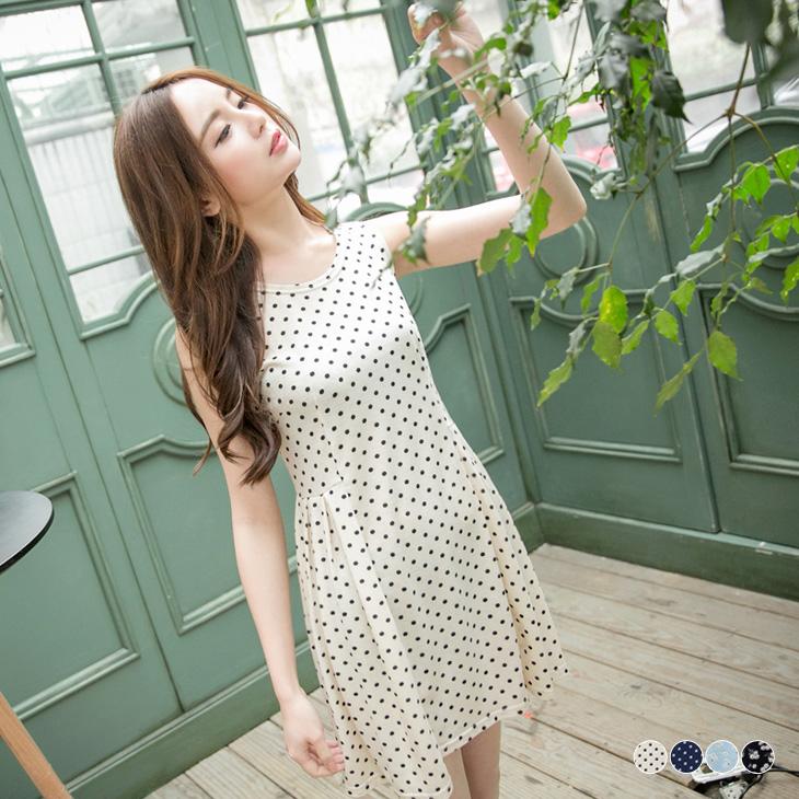 0427新品 柔雅綻放~滿版印花高腰打褶無袖洋裝.4色