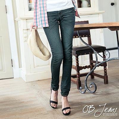 0911新品 細腿名模~嚴選韓版質感水洗刷紋深藍牛仔窄管褲