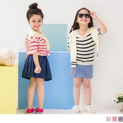 0616新品 親子系列~可愛甜心~條紋披肩造型五分袖上衣.童3色
