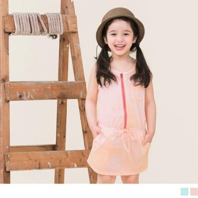 0309新品 親子裝系列~渲染印花縮腰連身短裙‧童‧2色