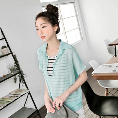 0412新品 半開襟雪紡拼橫條紋假兩件式上衣‧3色