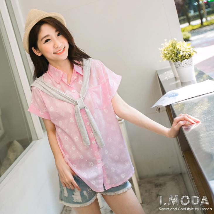 【熱銷回饋?單件五折】輕甜悠閒~滿版可愛燙花連袖襯衫.2色