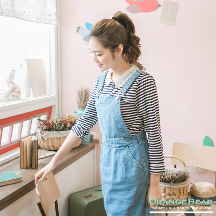 甜心風格~條紋X布蕾絲娃娃領開襟雙口袋上衣.2色