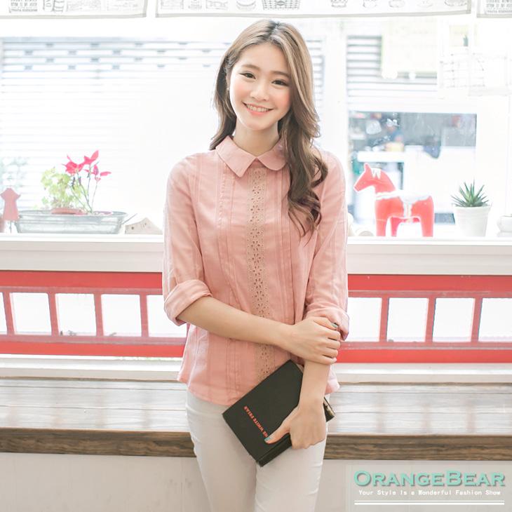 【時尚夏季?限時7折】輕甜知性~素色直條織紋X布蕾絲襯衫.2色