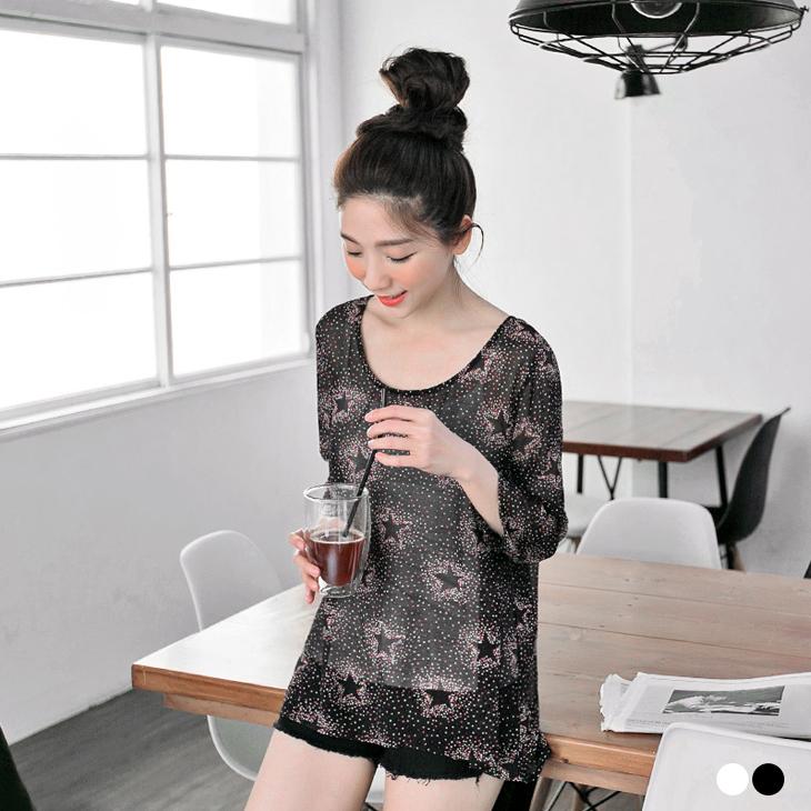 【春夏斷碼?2件59折】獨特俏麗~透膚ob 嚴 選 心得感滿版多色大小星星點綴上衣/外套.2色