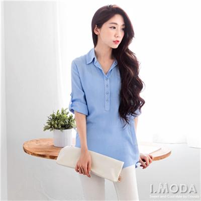 0421新品 清新OL~透膚感立體線條質感面料反折袖上衣.4色