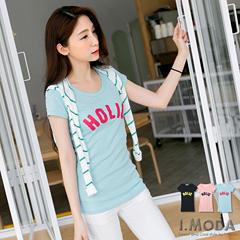 0612新品 簡約曲線~簡約撞色英文燙印修身剪裁T恤.3色
