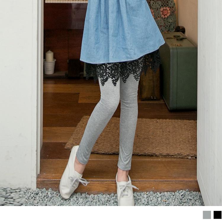 0922新品 浪漫重現~假兩件式鏤空蕾絲雕花裙襬內搭褲.2色