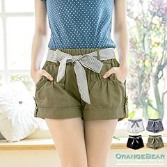 0615新品 微甜風格~附綁帶素色細摺裝飾短褲.4色