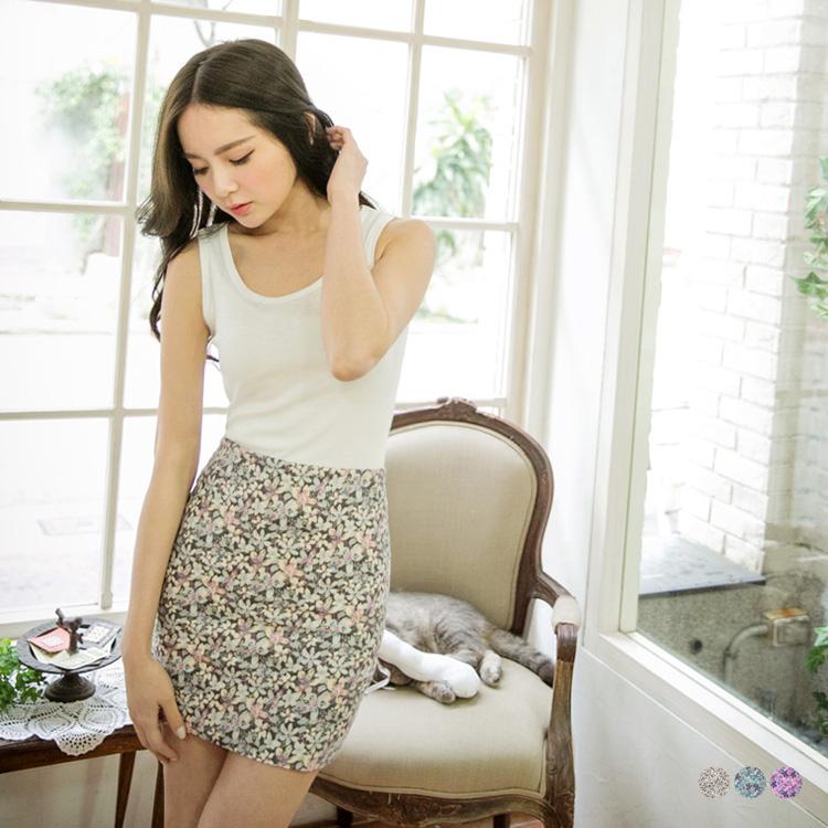 唯美動ob嚴選門市人~滿版印花合身美型短裙.3色