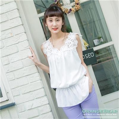 【春夏斷碼♥2件59折】優雅美型~素色拼接雕花蕾絲縮腰傘襬上衣.2色