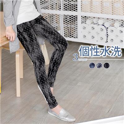 個性水洗~鳶尾花圖樣激瘦刷色牛仔窄管褲.3色