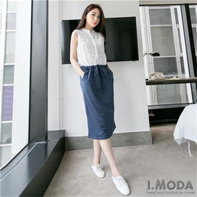 0402新品 中性優雅~蕾絲拼接棉質腰綁帶無袖長洋裝.2色