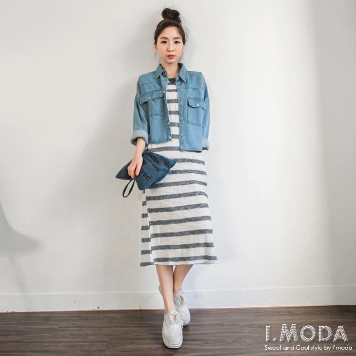 0612新品 鄰家女孩~編織質感撞色條紋連身長洋裝.2色