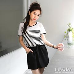 簡單味道~橫條紋拼接質感面料抽繩短袖洋裝.2色