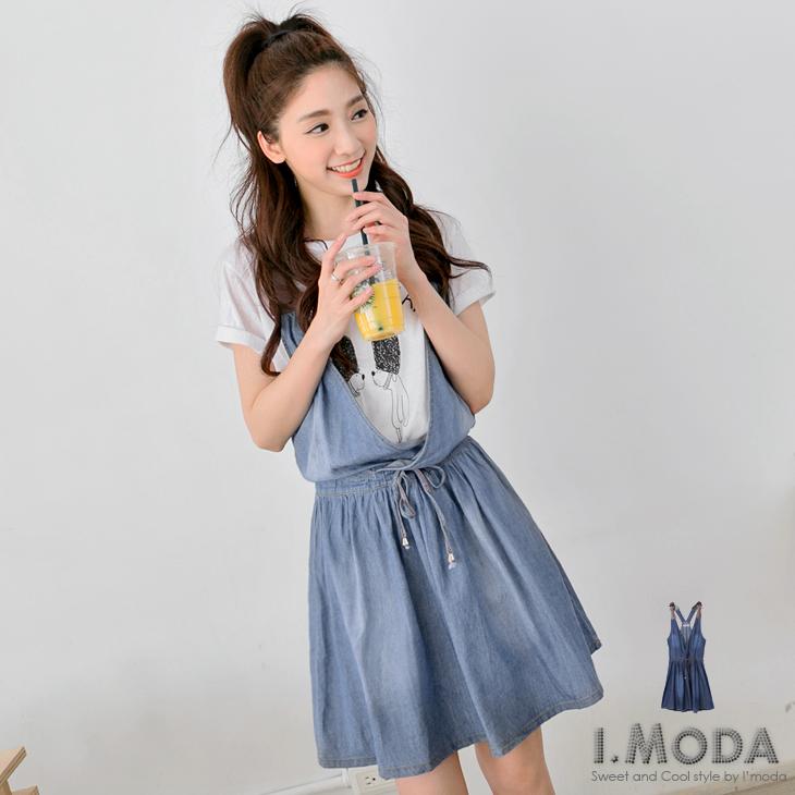 0507ob顯瘦褲新品 率性甜美~牛仔交叉無袖設計拼接皮革吊帶裙.2色
