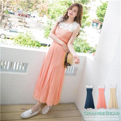 0528新品 氣質乍現~布蕾絲拼接高腰無袖長版洋裝.3色