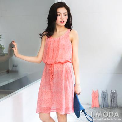 0421新品 淑女氣質~飄逸感雪紡背鏤空造型無袖洋裝.3色