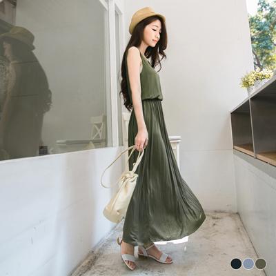 0617新品 高挑身型~質感面料純色縮腰無袖長洋裝.3色