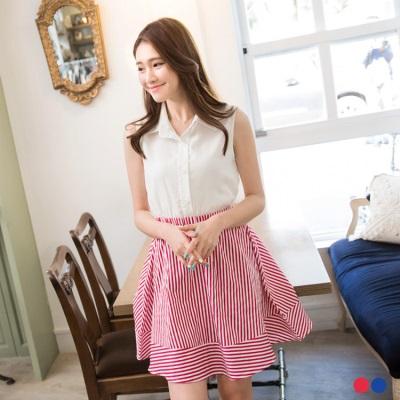 清新美型~素色X條紋裙襬無袖洋裝.2色