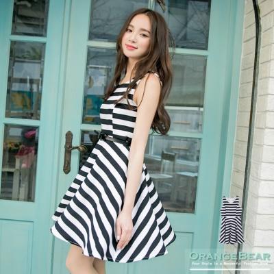 0427新品 無暇風尚~條紋公主線高腰傘襬無袖洋裝.2色