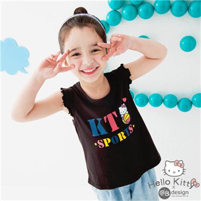 0616新品 KITTY柔軟快乾棉~運動系列籃球荷葉袖上衣‧童3色