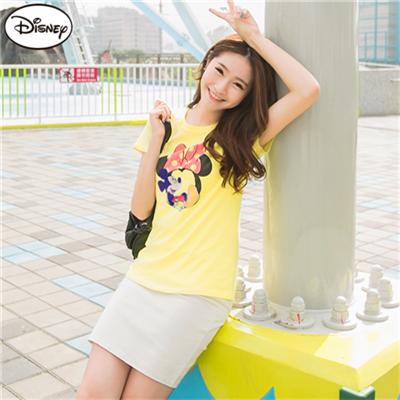 0506新品 迪士尼純棉系列~心懸米妮的米奇臥躺T恤‧女3色
