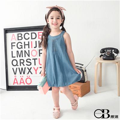 0325新品 清新休閒~丹寧打摺縮口造型下襬洋裝‧童2色