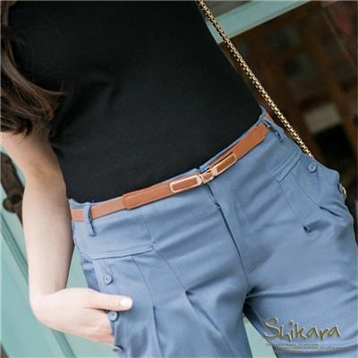 0422新品 【特價款】 優雅知性~金屬X皮革方型前釦式鬆緊細皮帶.3色