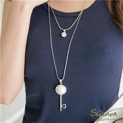 閃爍迷人~珍珠水鑽鑰匙墬飾雙圈項鍊.2色
