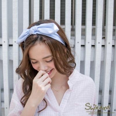 清新可人~條紋立體蝴蝶結鬆緊髮帶.2色