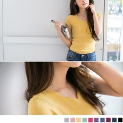 0411新品 修身百搭~韓版小V領素色羅紋T恤‧10色