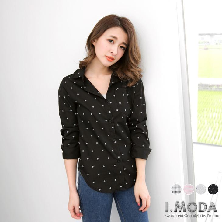 復古時尚~滿版圓點/格紋單口袋造型襯衫.4色