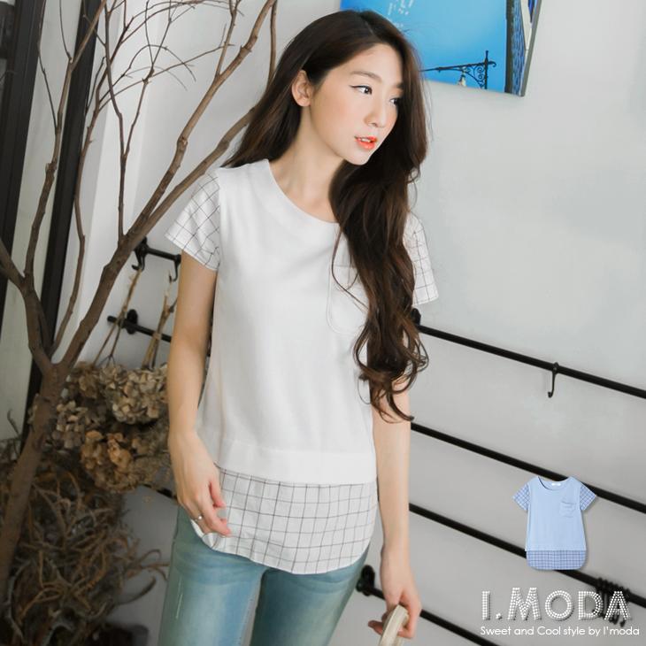 視覺清新~純色圓領拼接細格紋口ob延選袋造型上衣.2色