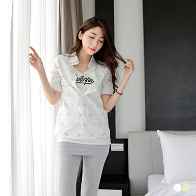 【春夏斷碼♥2件59折】清新氛圍~滿版雪花造型七分反折袖襯衫.2色