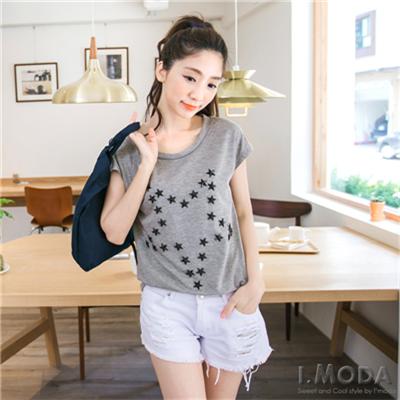 0422新品 冷酷甜心~立體星星墜飾點綴純色連袖T恤.3色