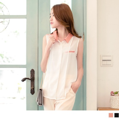 【夏日特賣♥2件5折】氣質柔雅~V領撞色雪紡飄逸無袖上衣.2色