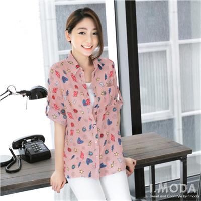 0505新品 俏麗特質~透膚感可愛圖飾綴前短後長襯衫.2色