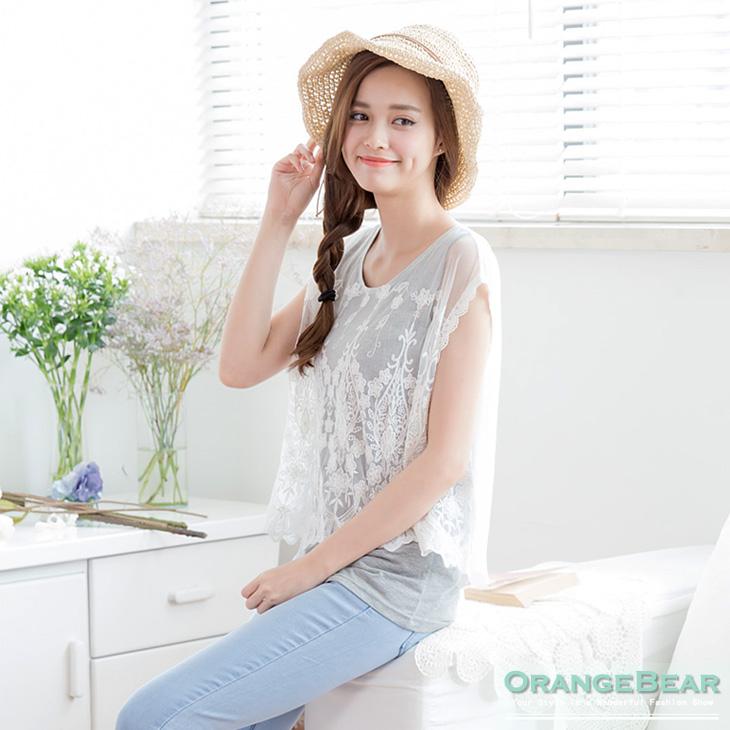 0819新品 輕柔唯美~假兩件式透光蕾絲層次上衣.2色