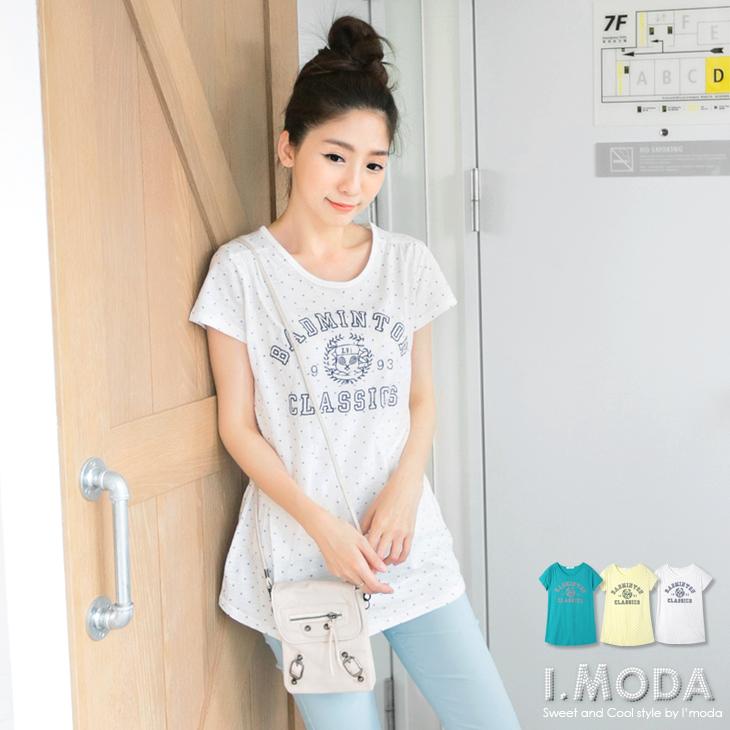 ob嚴選實體店面在哪可愛女孩~繽紛色英文燙印X滿版圓點長版T恤.3色
