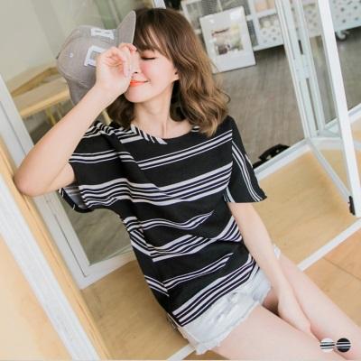 0515新品 風格時刻~橫條紋寬版連袖造型長版上衣.2色