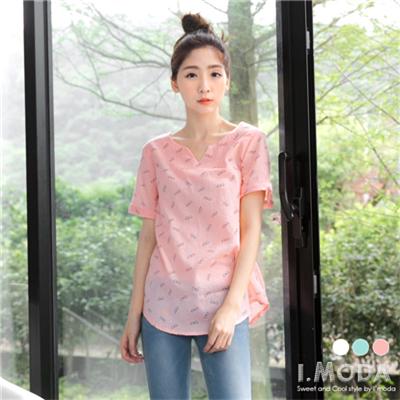 朝氣女孩~V領滿版小眼鏡圖飾造型透膚感上衣.3色