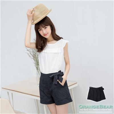 0325新品 甜美動人~點點織紋側蝴蝶結裝飾短褲.2色