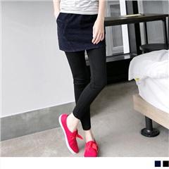 0407新品 層次美感~仿牛仔裙擺假兩件式內搭褲.2色