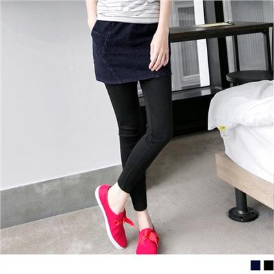 0620新品 層次美感~仿牛仔裙擺假兩件式內搭褲.2色